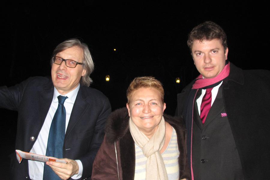 Flora Torrisi con Vittorio Sgarbi e Daniele Radini Tedeschi